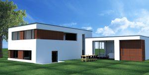 Luxe bungalow hout en stucwerk